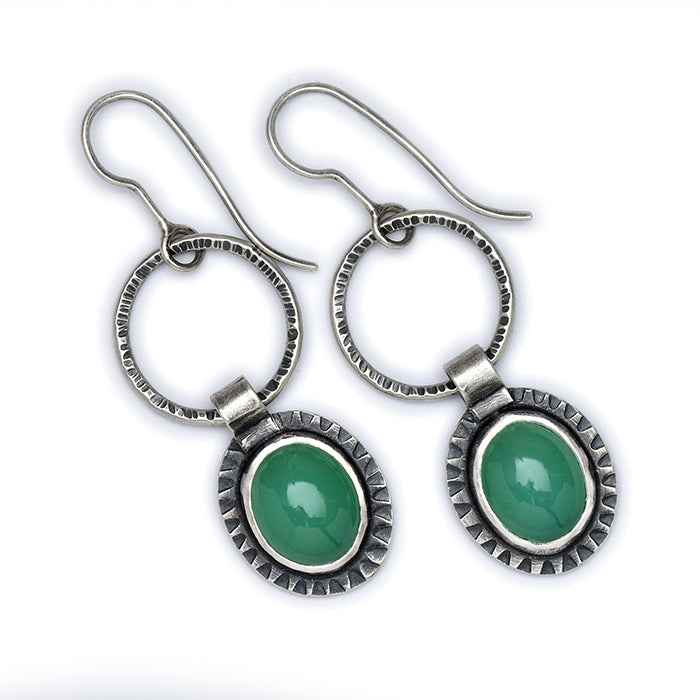 Chrysoprase Earrings - Sterling Silver