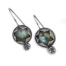 Circle Labradorite Earrings with Serrated Bezel