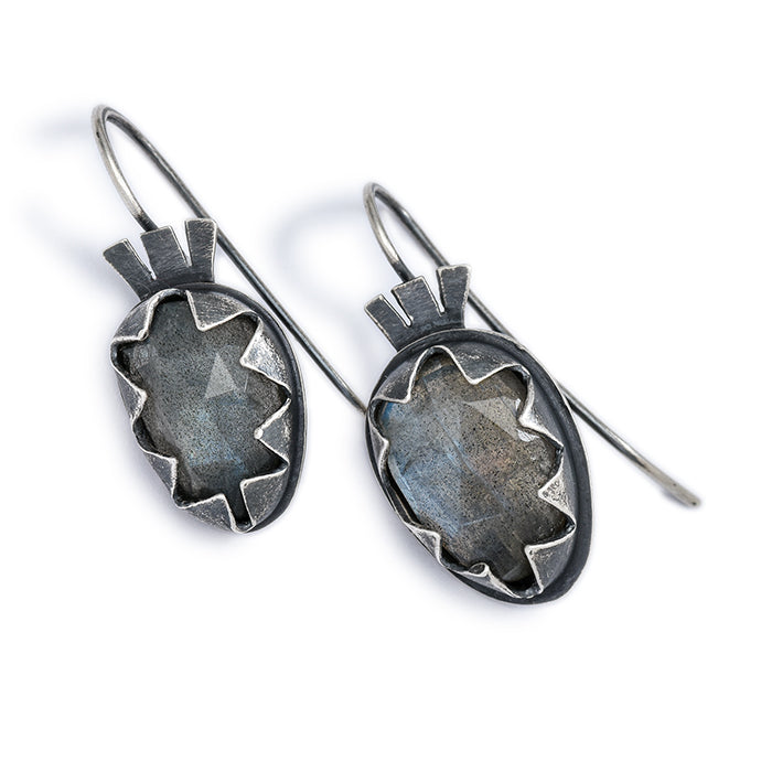 Oval Labradorite Earrings with Serrated Bezel in sterling and fine silver