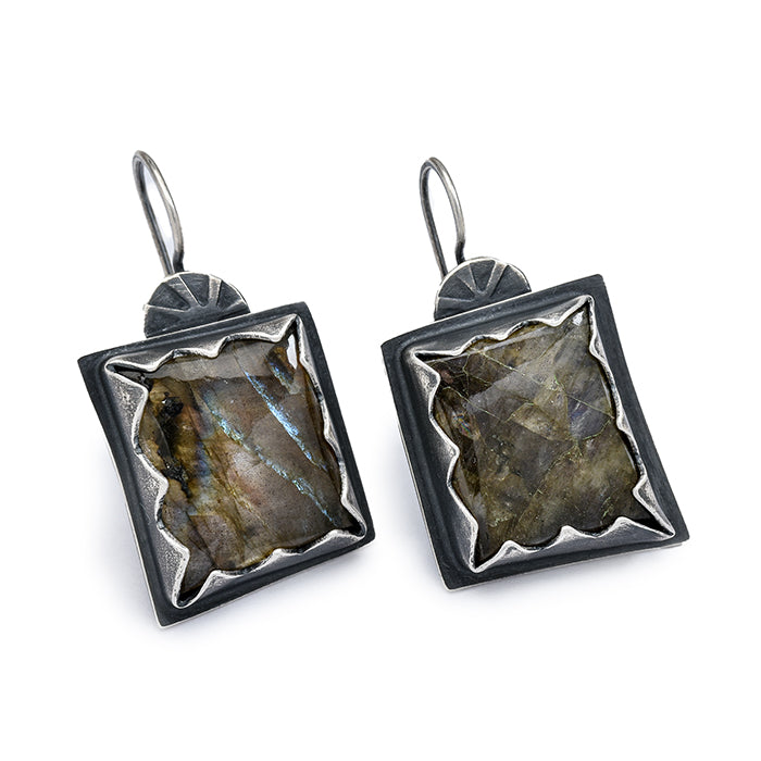 Square Labradorite Earrings with Serrated Bezel