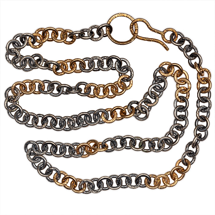 Handcrafted chain in mixed metals - sterling silver with 14k gold - 18in