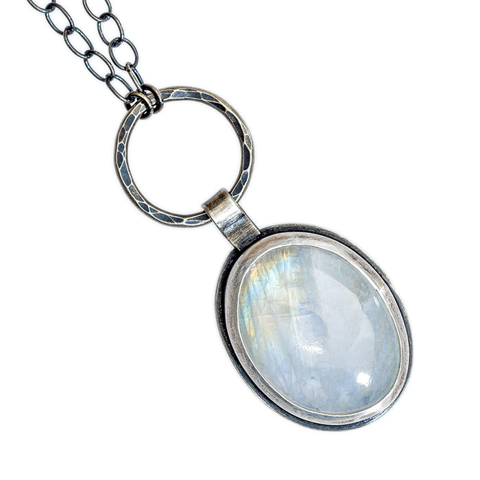 Oval Moonstone Necklace in sterling and fine silver