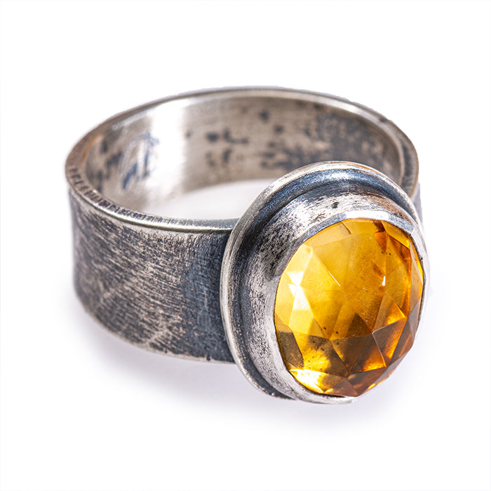 Rose Cut Citrine Cowgirl Ring in sterling silver -size 7.5