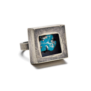 Miner's ring with turquoise slice - size 7