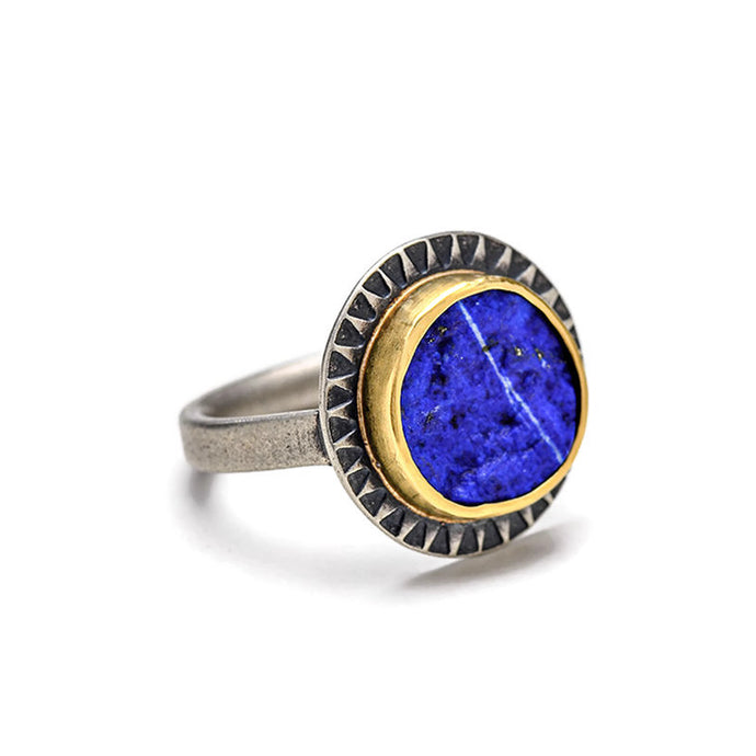 Lapis ring in gold and silver - size 7 1/4