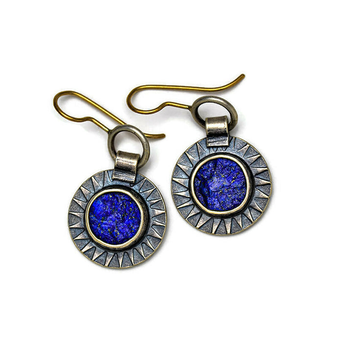 Rough top lapis earrings in sterling and 14k gold