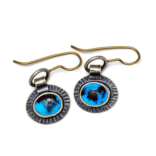 Turquoise earrings with sterling and 14k gold