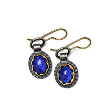 Tanzanite earrings in gold and silver