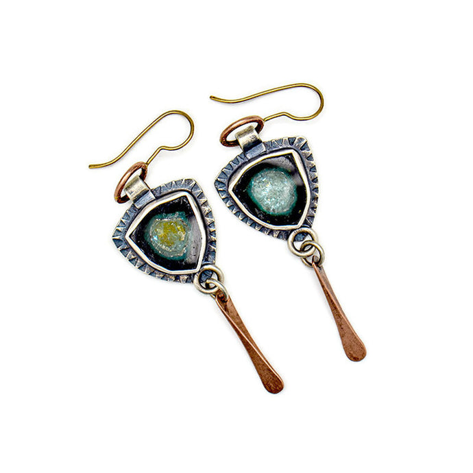 Forest blue tourmaline earrings with rose gold accents