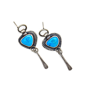 Turquoise post earrings with hammered dangles