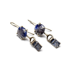 Deep blue sapphire earrings