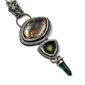 Opal and tourmaline necklace with handcrafted bar and link chain