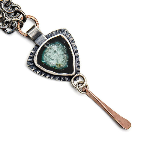 Forest blue tourmaline necklace with rose gold accents