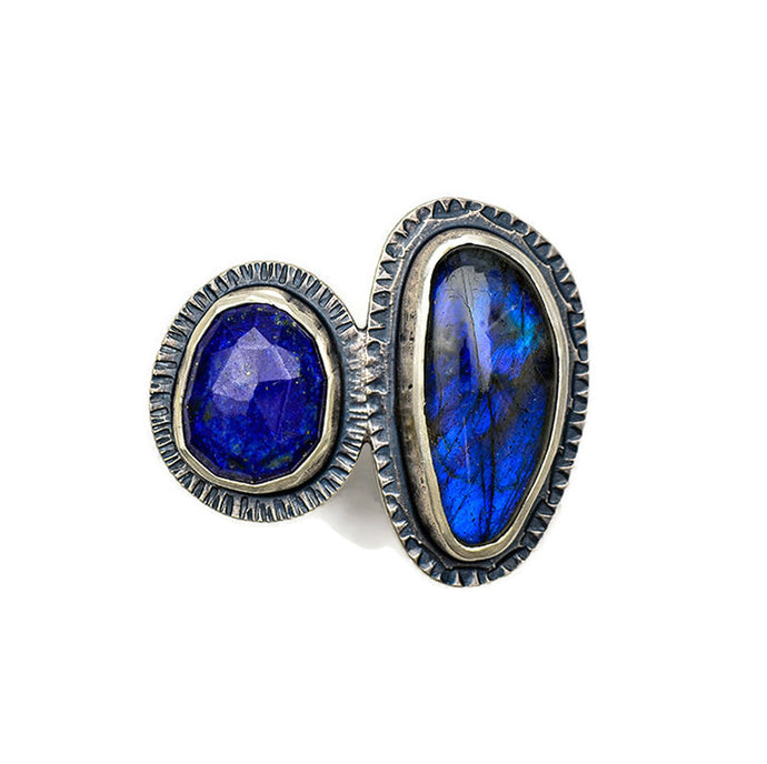 2 Stone ring with lapis and labradorite - size 7
