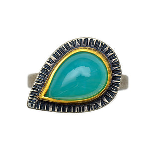 Peruvian opal ring in gold and silver - size 7 1/2