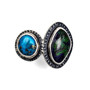 2 stone ring with turquoise and azurite - size 7 1/2-7 3/4