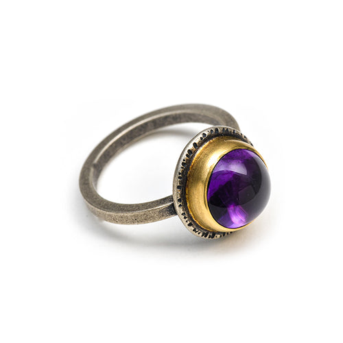 Amethyst ring, 18k gold and sterling size 7