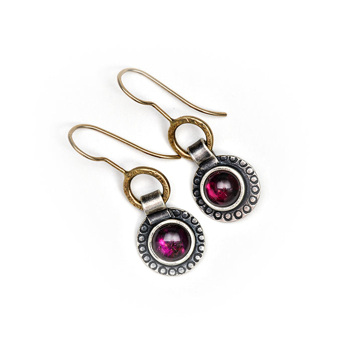 Purple garnet earrings in 14k gold and sterling silver
