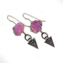 Rough ruby earrings