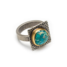 Turquoise mixed metal ring with 18k gold and sterling - size 7