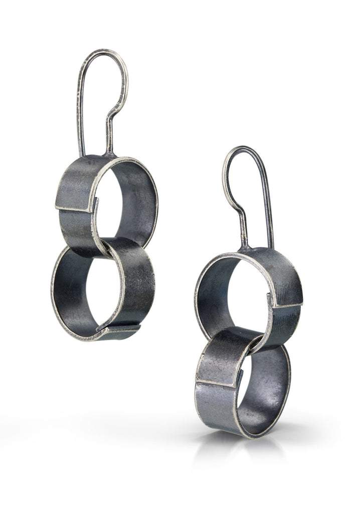 Paper chain earrings, double small link