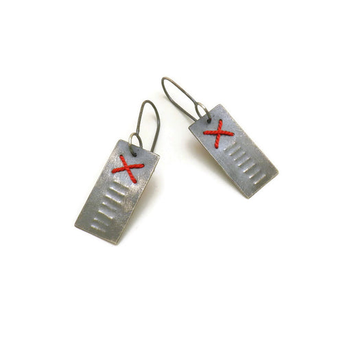 Primitive Stitched Earrings - X short