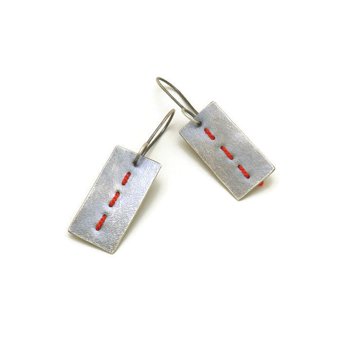 Primitive Stitched Earrings - vertical short
