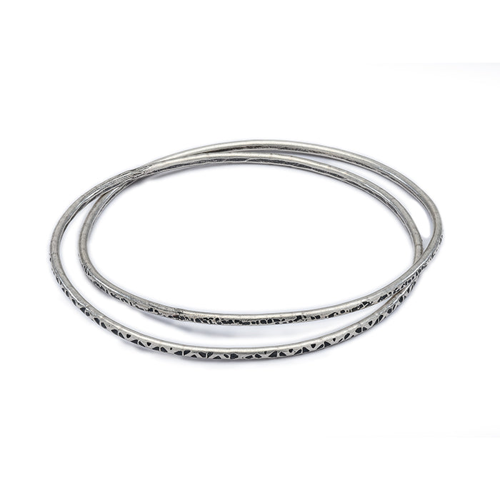 Double Intertwined Bangle - sterling silver