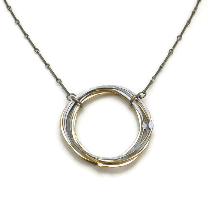 Tree Ring Medium Necklace - 14k gold and sterling