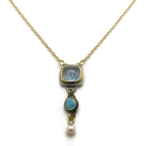 3 Stone Collector Necklace - Delicate With Gold And Blue