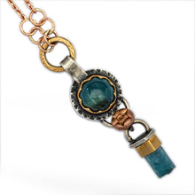 Blue Tourmaline with Rose & Yellow Gold Necklace