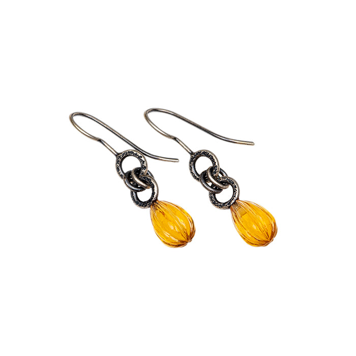 Citrine Briolette Drop Earrings in sterling silver
