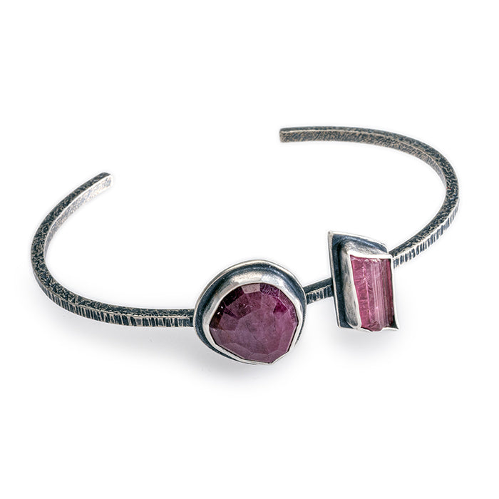 Ruby & Tourmaline Cuff bracelet in sterling silver