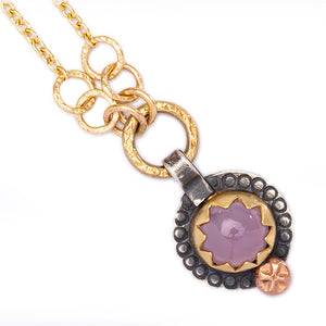 Oregon Lavender Chalcedony Necklace with Gold and Silver