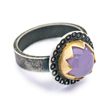 Oregon Lavender Chalcedony Mixed Metal Ring - size 5