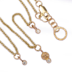 Long Gold Necklace with Diamonds -  25in