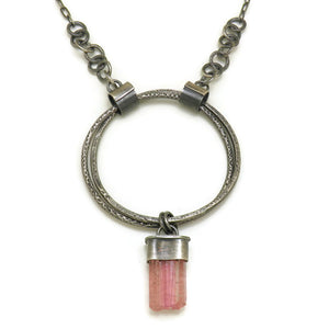 Double Halo Statement Necklace with Pink Tourmaline Crystal