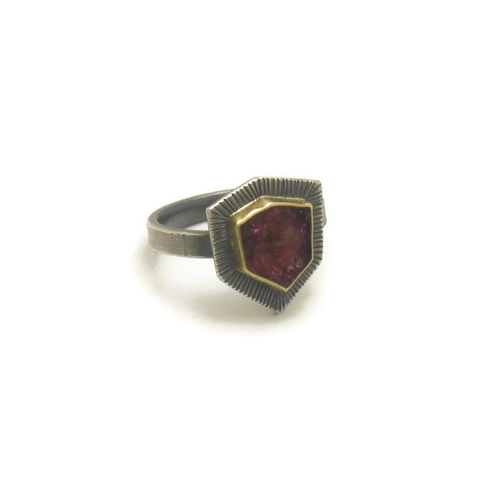 Pink Tourmaline Ring In 18k Gold And Sterling Silver
