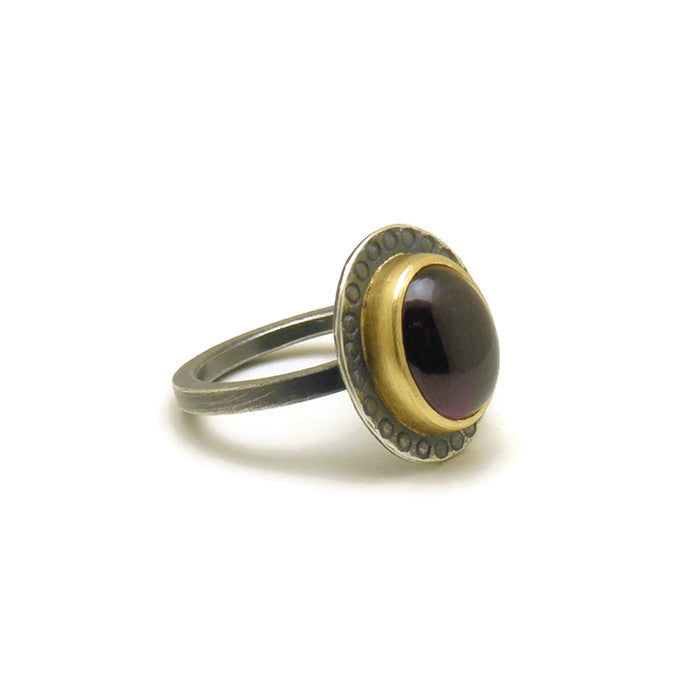 Purple garnet mixed metal ring - one of a kind