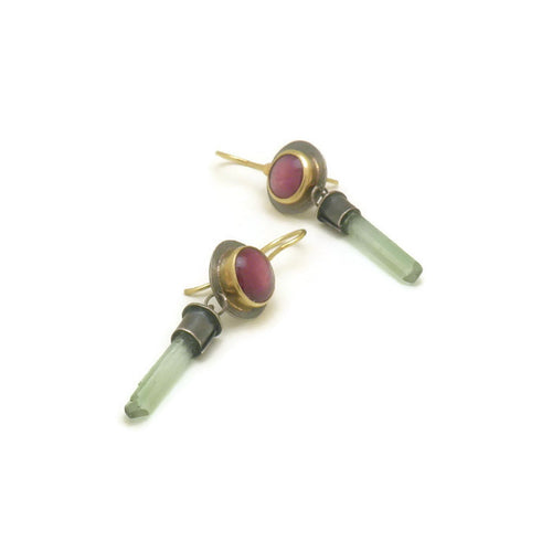 Ruby And Tourmaline Earrings - 18k gold and sterling