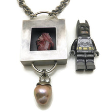 Shadow box necklace with pink tourmaline crystal and an Edison pearl