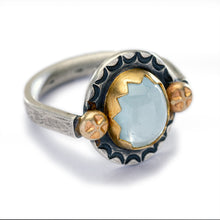 Silky Aquamarine Ring with Gold and Silver