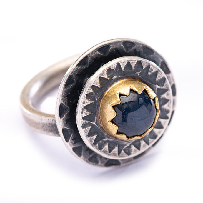 Star Sapphire Ring with Gold and Silver - size 7