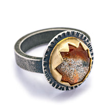 Sunstone Mixed Metal Ring - size 7