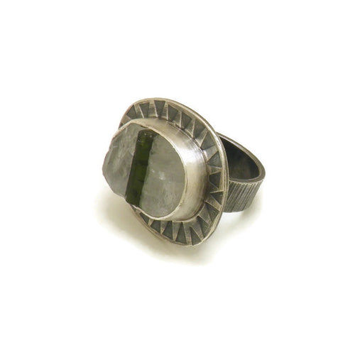 Green tourmaline in quartz ring - one of a kind