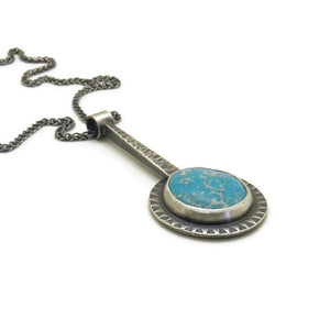 Drop pendant with round turquoise nugget