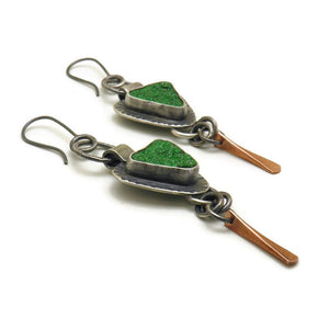 Uvarovite earrings with 10k rose gold dangles