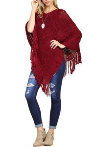 Sweater Poncho - Burgundy