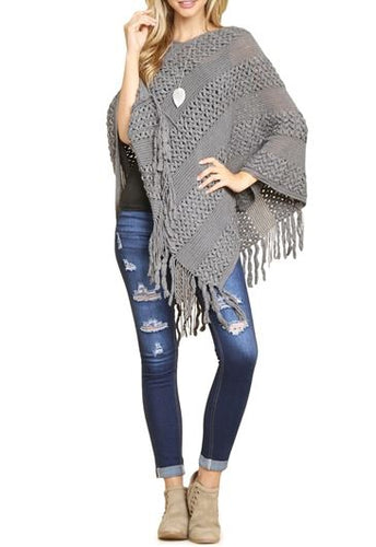 Sweater Poncho - Grey
