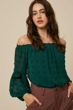Green Off the Shoulder Dot Top